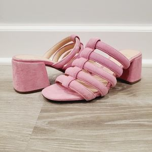 NEW J. Crew Penny Pink Strappy Suede Slide Sandal